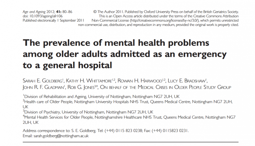The prevalence of mental health problems among older adults admitted as an emergency to a general hospital