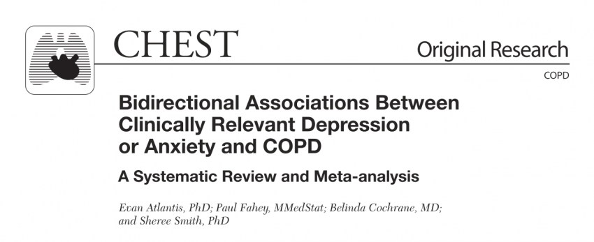COPD increases the risk of depression. Depression and anxiety adversely affect prognosis in COPD, leading to an increased risk of exacerbation and possibly death.