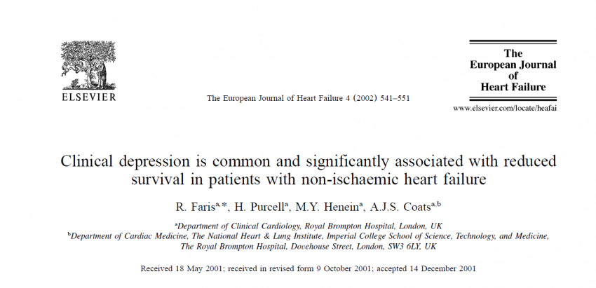 Depression is associated with increased risk of death in patients with heart failure