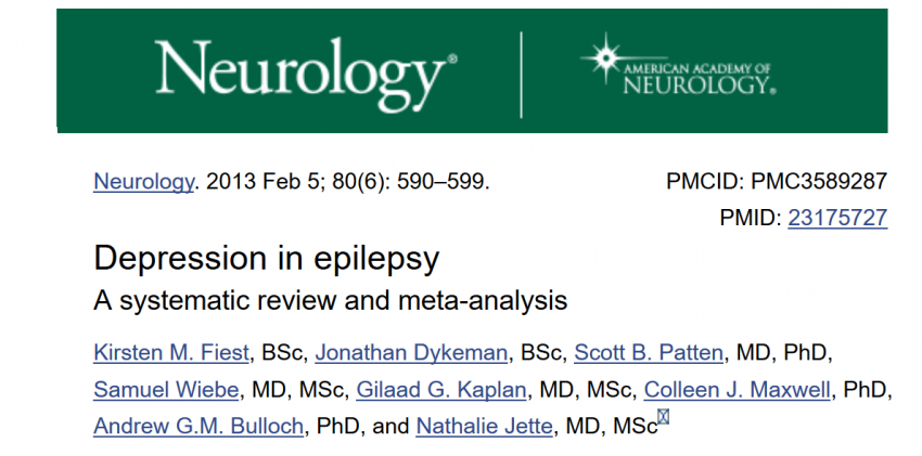 Prevalence of depression in people with epilepsy