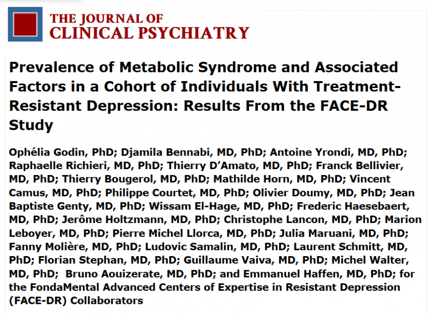 Treatment resistant depression and the prevalence of the metabolic syndrome