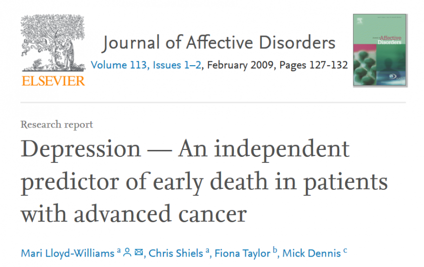 Depression is an independent predictor of early death in patients with advanced cancer