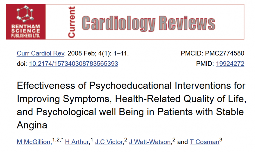Psychoeducational interventions are effective in reducing angina frequency and medication use
