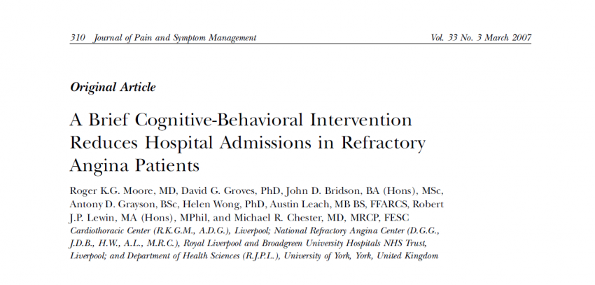 Cognitive-behavioural chronic disease management program (CB-CDMP) reduces hospital admissions and bed-occupancy in patients with frequent admissions with chest pain