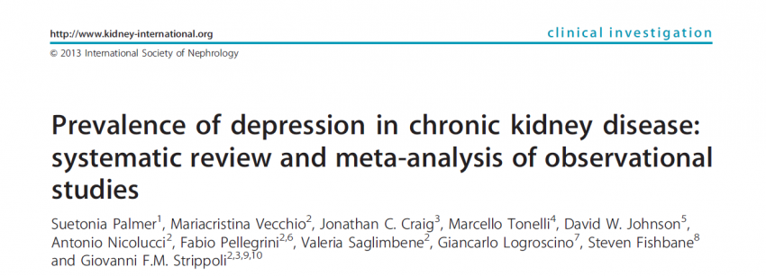 Prevalence of depression in patients with chronic kidney disease