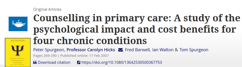 CBT based counselling significantly reduces their uptake of primary and secondary care services in patients with chronic medical conditions