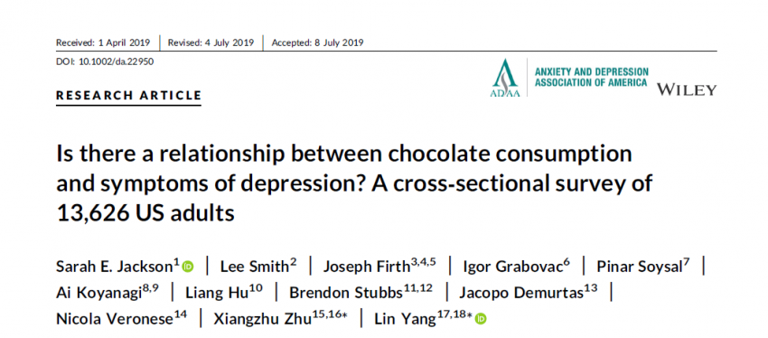 Dark chocolate consumption is associated with reduced chance of depression