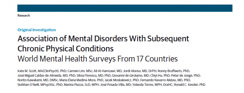 Mental disorders significantly increase the risk of physical illness