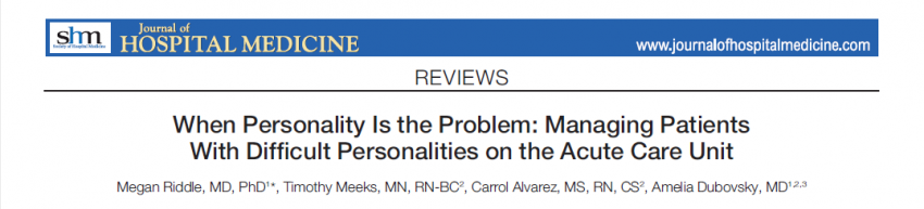 Managing Patients With Personality Disorder on the Acute Care Unit
