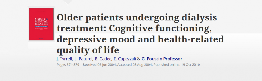 Older patients on dialysis have a high prevalance of depression and cognitive impairment