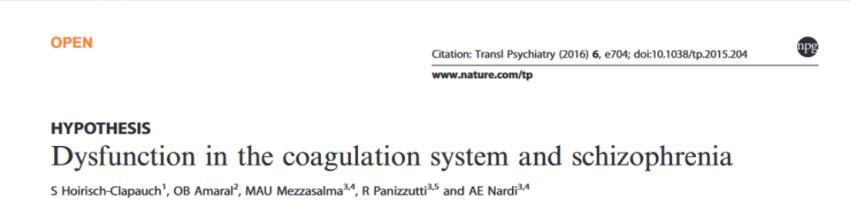Schizophrenia and coagulation