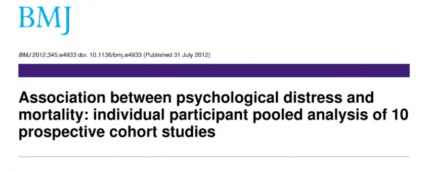 Psychological distress is associated with increased mortality from several major causes in a dose-response pattern, even at low levels of distress
